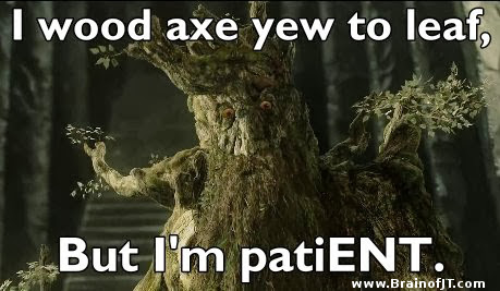 I wood axe yew to leaf but I'm patiENT